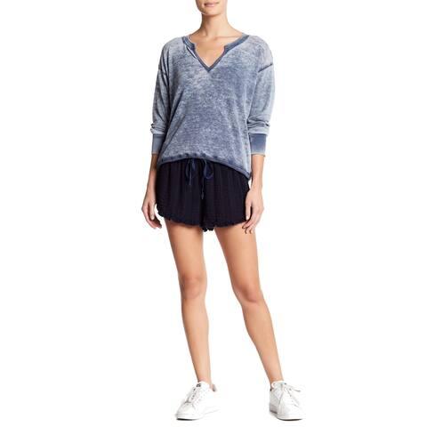 Allen Allen Navy Blue Women's Size XL Seersucker Drawstring Shorts