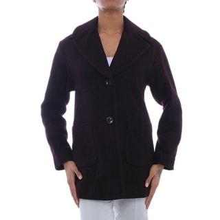 Kenneth Cole NY  Flap Collar Wood-Blend Jacket Basic Coat BUR