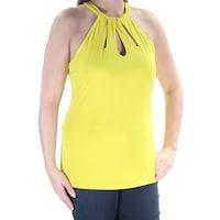 e046e873a9c87 Shop INC Womens Yellow Embellished Sleeveless Halter Top Size  XS ...