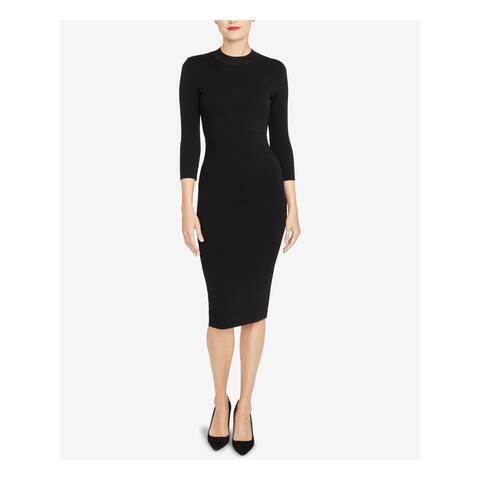 RACHEL ROY Black 3/4 Sleeve Midi Dress L