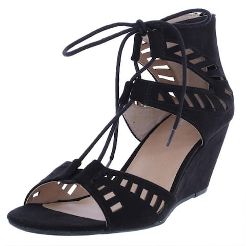 Material Girl Womens Halona Wedge Sandals Faux Suede Open Toe