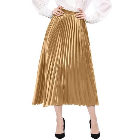 Women's High Waist Party Accordion Pleats Metallic Midi Skirt