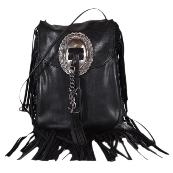 c9893bad7c Saint Laurent YSL 395012 Black Leather Anita Flat Crossbody Purse Bag