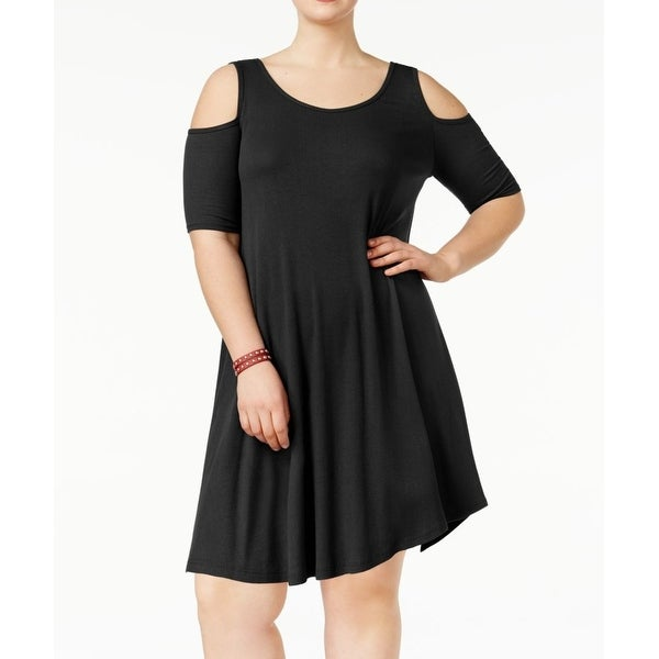 48a2c4eb7c2 Shop Soprano Black Women s Size 3X Plus Off-Shoulder Ribbed A-Line Dress -  On Sale - Free Shipping On Orders Over  45 - Overstock - 27316020
