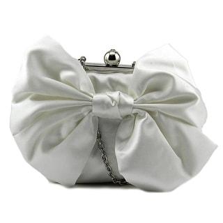 Jessica McClintock Oversized Bow Pouchette Women Satin Evening Bag - White