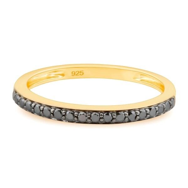 Prism Jewel 0.22Ct Prong Set Black Diamond Wedding Band- 2.40mm Wide