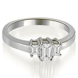 1.50 cttw. 14K White Gold Three Stone Emerald Cut Diamond Ring