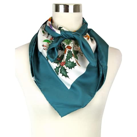 Gucci Women's Floral Scarf Green Large Silk Scarf with Trim 022796 4409