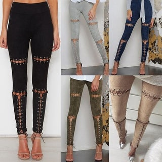 Sexy Hollow Out Lace Up Bandage Slim Skinny Pencil Pants Leggings Lady Trousers