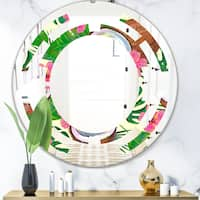 Designart Tropical Cooconut And Jungle Flowers Modern Round Or Oval Wall Mirror Space On Sale Overstock 29908179