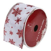 "White and Red Snowflakes Burlap Wired Christmas Craft Ribbon 2.5"" x 10 Yards"
