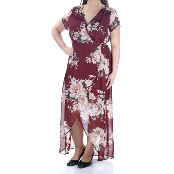 e09ab40fff0 Shop LOVE SQUARED Womens Burgundy Floral Short Sleeve V Neck Full Length  Wrap Formal Dress Plus Size  1X - On Sale - Free Shipping On Orders Over   45 ...