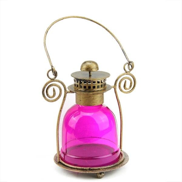 "7.5"" Decorative Pink Glass Bell Tea Light Candle Holder Lantern"