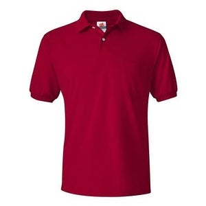 Hanes Ecosmart Jersey Sport Shirt with a Pocket - Deep Red - S