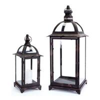 "Set of 2 Pagoda Crest Weathered Iron and Glass Pillar Candle Holder Lanterns 26"" - Black"