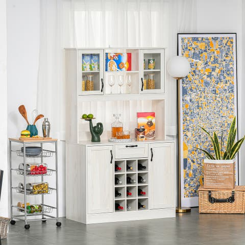 HOMCOM Kitchen Buffet with Hutch Cupboard with Utility Drawer, 4 Door Cabinets, and Optional 12-Bottle Wine Storage, White