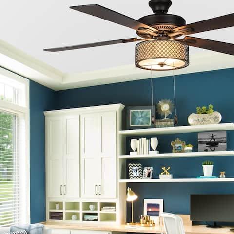 Copper Grove Leyla 52-inch 5-blade Bronzed Wave LED Ceiling Fan