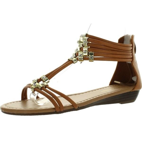 Forever Filosia-28 Women Ankle T-Strap Rhinestones Back Zipper Low Wedge Heel Flat Gladiator Sandals