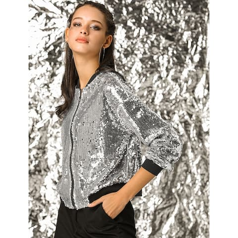 Women's Sequin Glitter Long Sleeve Zipper Bomber Jacket