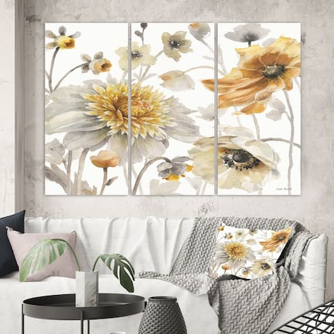Designart 'Fields of Gold Watercolor Flower VI' Traditional Canvas Artwork