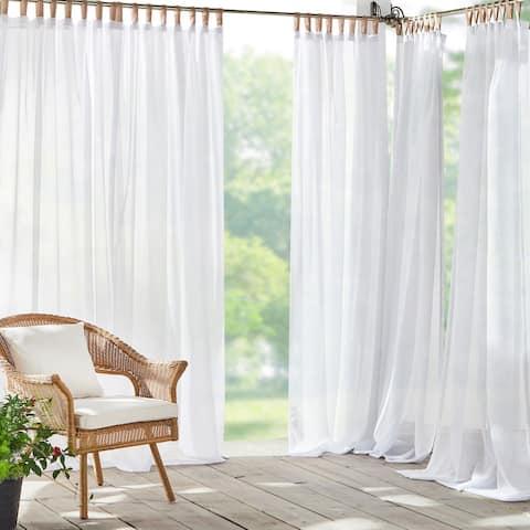 Darien Solid Indoor/Outdoor Sheer Velcro Tab Top Window Curtain Panel