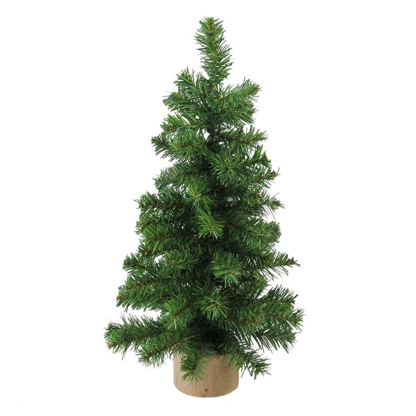 "15"" Alpine Artificial Christmas Tree With Wood Base Table Top Decoration - Unlit - green"