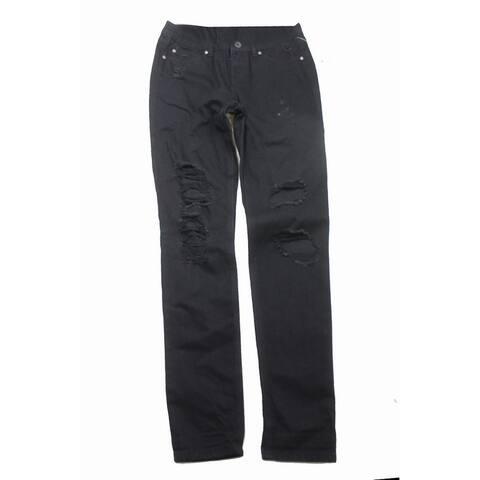 Rewash Juniors Black Destroyed Skinny Jean 1