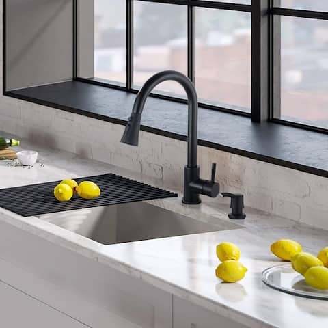 Single Handle High Arc Pull Down Kitchen Faucet with Soap Dispenser