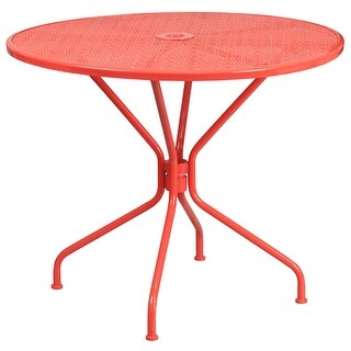 Westbury Round 35.25'' Coral Steel Table for Patio/Bar