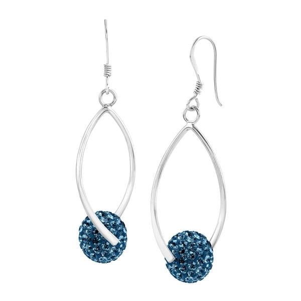 Crystaluxe Twisted Ball Drop Earrings with Swarovski Crystals in Sterling Silver - Blue