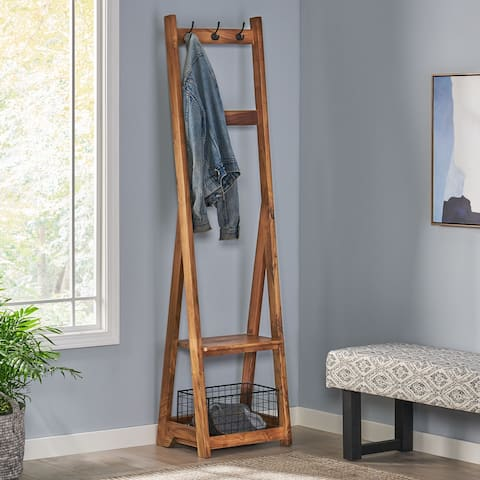 Bouman Modern Industrial Handcrafted Acacia Wood Coat Rack with Bench Storage by Christopher Knight Home