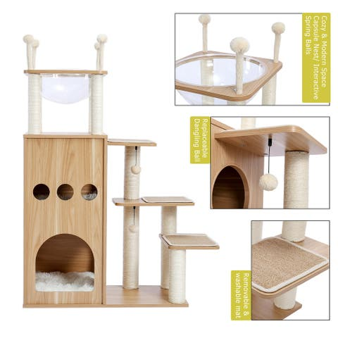 Cat Tree Modern Cat Tower Featuring with Deluxe Condos, pet house