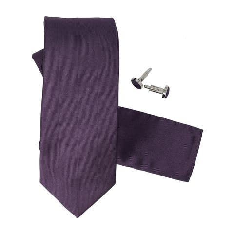 Men's 100% Silk Neck Tie Set Cufflinks & Hanky Collection