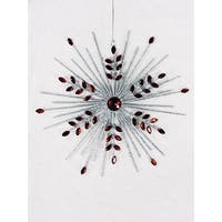 "7""Silver Glittered Snowflake Christmas Tree Ornament With Red Jewels"