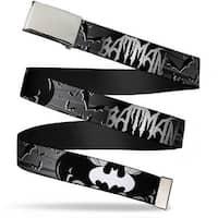 Blank Chrome  Buckle Batman W Bat Signals & Flying Bats Black White Web Belt
