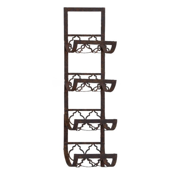 Shop Benzara Metal Wall Wine Rack With 4 Bottle Holders Free