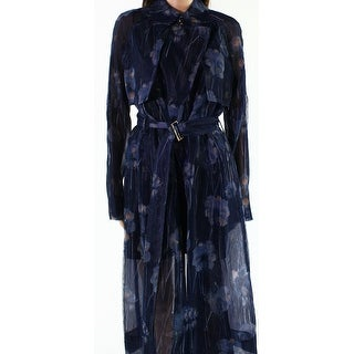 Jason Wu Blue Womens Size 6 Belted Mesh Floral Print Trench Coat