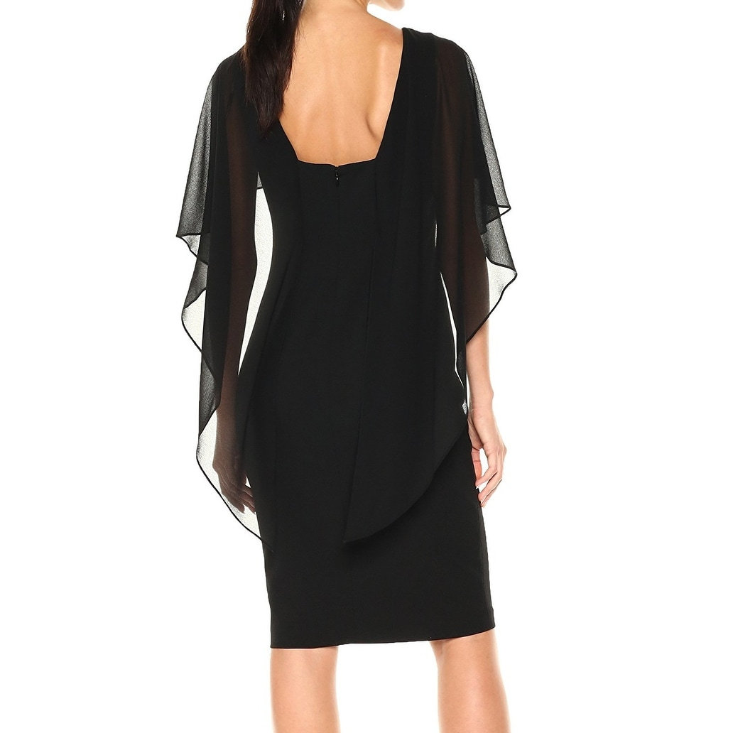 9474f3bd2668 Shop Calvin Klein Deep Black Womens Size 4 Chiffon Cape Sheath Dress - On  Sale - Free Shipping Today - Overstock - 27103541