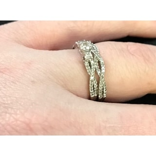 Annello 14k Gold 1/2ct TDW Diamond Braided Bridal Ring Set