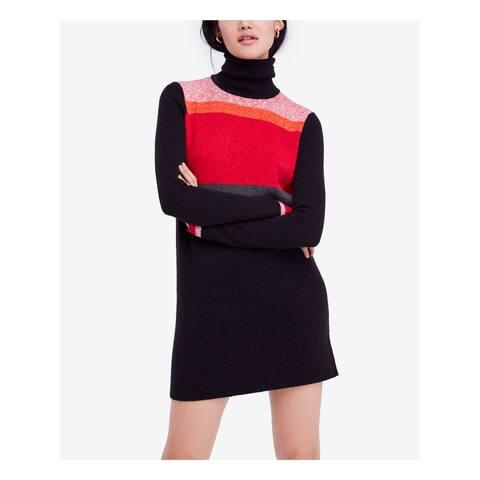 FREE PEOPLE Womens Black Sweater Color Block Long Sleeve Turtle Neck Mini Dress Size: XS