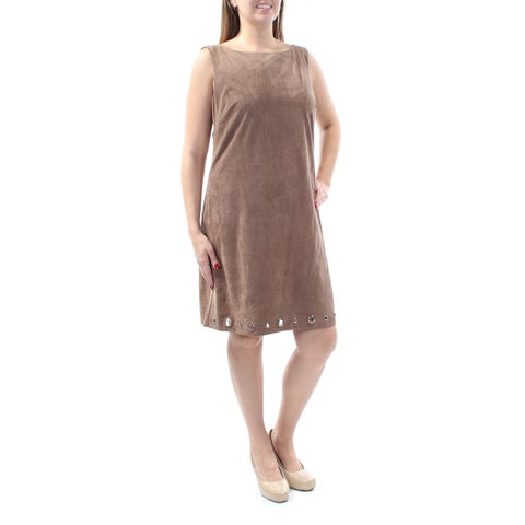 JESSICA HOWARD Womens Brown Eyelet Sleeveless Jewel Neck Above The Knee Dress Size: 14