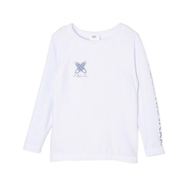 Azul Unisex Baby White Solid Surf Board Logo Long Sleeve Rash Guard