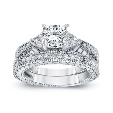 Auriya 14k Gold 1 1/3ctw Vintage 3-Stone Princess-cut Diamond Engagement Ring Set