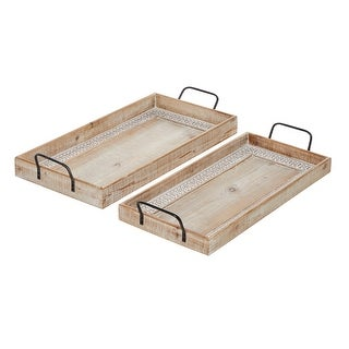 """Link to Rectangular Wood Tray With Black Metal Handles And Carved Pattern Bordered Inlay Set Of 2 25"""" 27"""" - 27 x 12 x 4 Similar Items in Accent Pieces"""