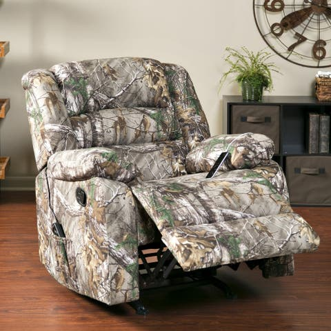 Longstreet Camo Heated Massage Rocker Recliner with USB