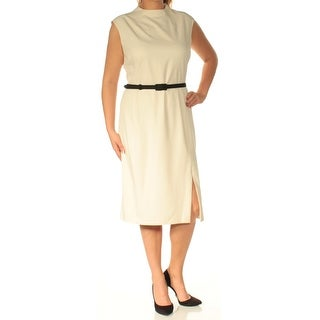 RALPH LAUREN $135 Womens New 1354 Ivory Belted Cap Sleeve Shift Dress 14 B+B