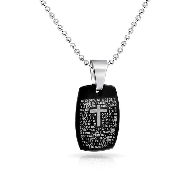 7e02d9c9c9 Our Lords Prayer Cross El Padre Maestro Dog Tag Pendant For Boys Two Tone  Black Silver