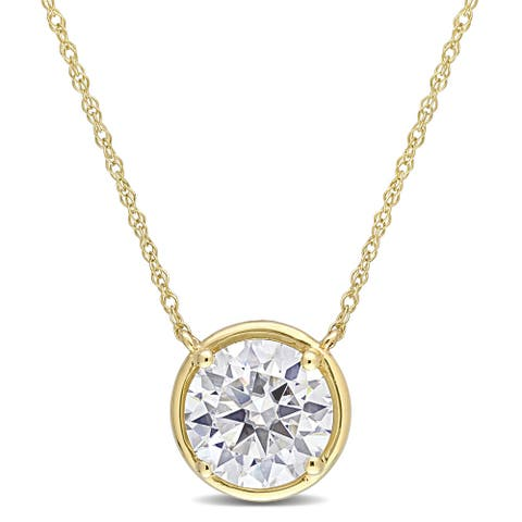 Miadora 2ct DEW Moissanite Solitaire Necklace in 10k Yellow Gold