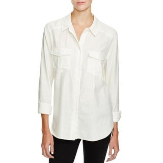 Paige Womens Blouse Pockets Metallic