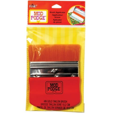 "Plaid 12917 Mod Podge Flat Brush Applicator, Taklon Bristle, 4"" W"